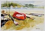 """Fountain Point Resort Kayak"" by Neil Walling Watercolor ~ 11"" x 14"""