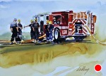 "Glen Lake Fire Department by Neil Walling Watercolor ~ 7"" x 10"""