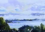 """West Bay From Hilltop Road"" by Neil Walling Watercolor ~ 9"" x 12"""