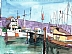 "Santa Barbara Harbor by Rebecca Fraser Watercolor ~ 7 3/4"" x 10"""