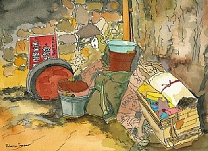"Shanghai Alley by Rebecca Fraser Watercolor ~ 7 3/4"" x 10"""