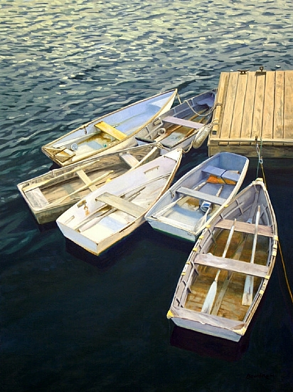 6 boats, Rockport dock - Oil