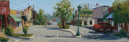 A Sunny Morning on Main Street by Rita Kirkman Limited Edition Print ~ 5 x 17 inches