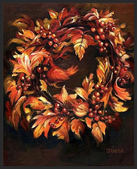 Cardinal Wreath - Oil