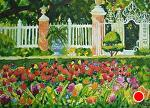 "Glory in the Governor's Palace Gardens, Williamsburg by Sharon Parker Watercolor ~ 5"" x 7"""