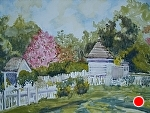 "Beside the Prentis Shop, Colonial Williamsburg by Sharon Parker Watercolor ~ 16"" x 20"""