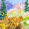 100/100 #35- Color at the Maroon Bells by Nora Larimer Watercolor ~ 8 x 6