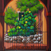 Through the Portico by Gayle Faucette Wisbon Acrylic ~ 14 x 11