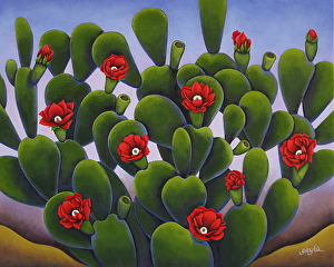 Cactus Roses by Gayle Faucette Wisbon Acrylic ~ 24 x 30