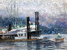 "Gibson Marina by Stephen Dobson Oil ~ 18"" x 24"""