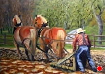 Plowing Concrete by Stephen Dobson Oil ~ 16 x 20