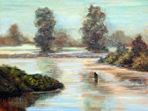 "Early Morning in the River by Stephen Dobson Oil ~ 12"" x 16"""