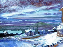 "Big White Village by Stephen Dobson Oil ~ 12"" x 16"""