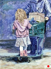 "Riding the Shopping Cart by Stephen Dobson Oil ~ 16"" x 12"""