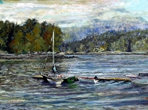 "Docked in Tofino by Stephen Dobson Oil ~ 12"" x 16"""