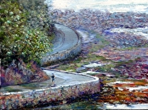 "Seawall Run by Stephen Dobson Oil ~ 12"" x 16"""