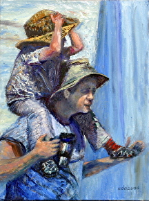 "Hitchin a Ride with Dad by Stephen Dobson Oil ~ 16"" x 12"""