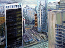 "The view from 555 Georgia by Stephen Dobson Oil ~ 18"" x 24"""