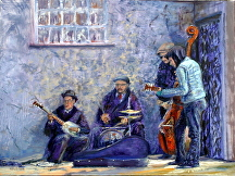Singing for supper at the Haney Hotel by Stephen Dobson  ~ 18 x 24""