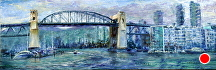 "Burrard Street Bridge by Stephen Dobson Oil ~ 8"" x 24"""