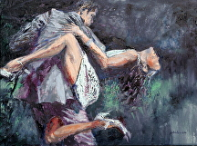 The Tango Tangle by Stephen Dobson Oil ~ 12 x -