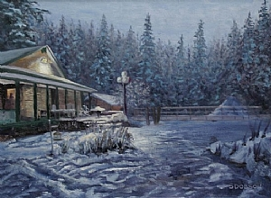 My backyard in Winter II by Stephen Dobson Oil ~ 18 x 24
