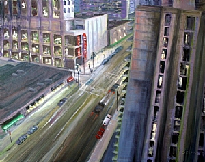 Burrard Street from our Hotel Room by Stephen Dobson Oil ~ 36 x 40