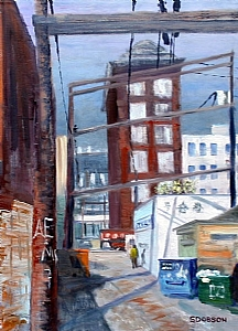 "Chinatown Alley, East of Main by Stephen Dobson Oil ~ 24"" x 18"""