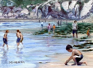 "Fun in the Sun by Stephen Dobson Oil ~ 12"" x 16"""