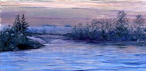 "Dusk on the River by Stephen Dobson Oil ~ 12"" x 24"""