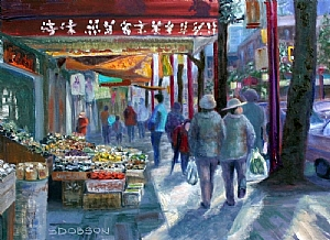 Street Shopping by Stephen Dobson Oil ~ 18 x 24