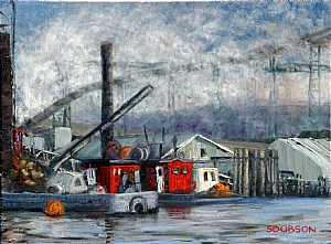 Fraser River Saw Mill by Stephen Dobson Oil ~ 18 x 24