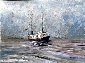 Fishing in Fog by Stephen Dobson Oil ~ 18 x 24