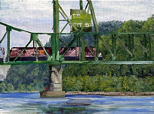 Ironworkers Memorial Train Bridge by Stephen Dobson Oil ~ 18 x 24