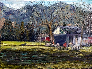 "Sheep Farm on Dewdney Trunk Road by Stephen Dobson Oil ~ 12"" x 16"""