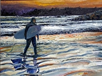 "End of the Surfing Day by Stephen Dobson Oil ~ 12"" x 16"""
