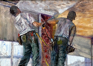 "Two Drywallers by Stephen Dobson Oil ~ 12"" x 16"""