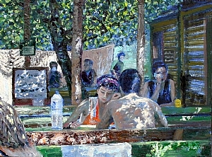 Hanging Out on the Patio by Stephen Dobson Oil ~ 12 x -