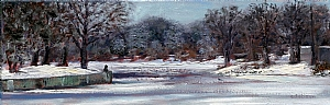 "Feeding Ducks at Fairy Lake in Winter by Stephen Dobson Oil ~ 8"" x 24"""