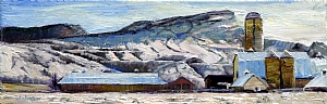 "Merrit farm in Winter by Stephen Dobson Oil ~ 8"" x 24"""