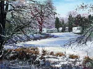 Fairy Lake Trailer Park in Winter III by Stephen Dobson Oil ~ 12 x 16""