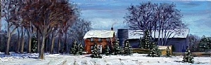 "Acton Farm House by Stephen Dobson Oil ~ 8"" x 24"""