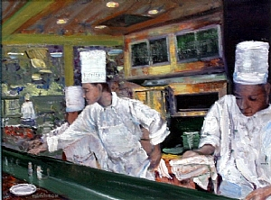 "Working the Line by Stephen Dobson Oil ~ 12"" x 16"""