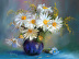 Daisies in Blue Vase by Kathleen Casey