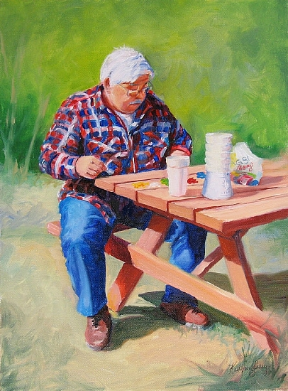 Daddy, The Craft Project by Kathleen Casey Oil ~ 12 x 9