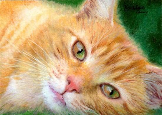 Pet Me Please by Kathleen Casey Pastel ~ 2.5 x 3.5