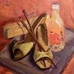 Shushi and Sake by Angelini Studio Oil ~ 6 x 6