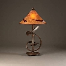 "Sculptural Lamp by Bill Brown Steel & Blown Glass ~ 28"" x 15"""