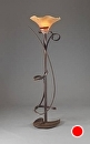 "Torchiere w/ Scalloped Globe by Bill Brown Steel & Blown Glass ~ 72"" x 21"""