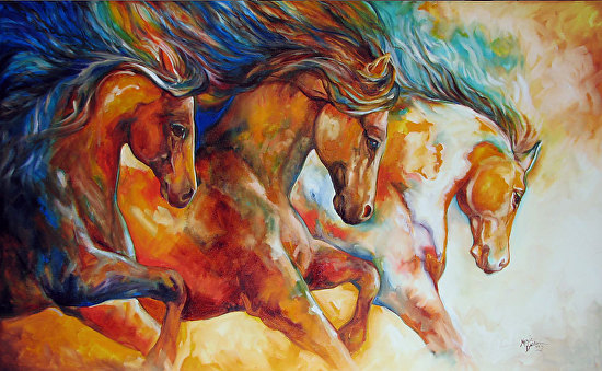 WILD TRIO RUN MUSTANGS - Oil